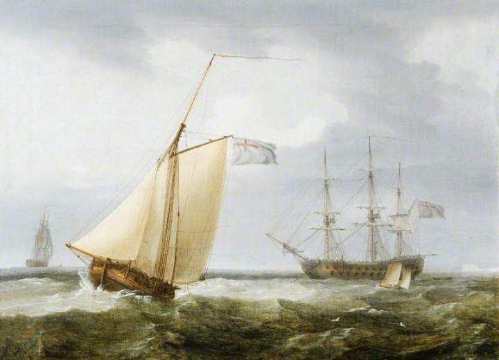 A Fishing Boat with a Warship at Anchor off Dover, Kent, by Thomas Whitcombe, 1805