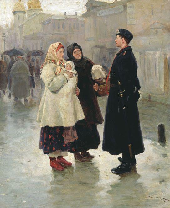 Meeting, by Nikolai Pimonenko, 1908