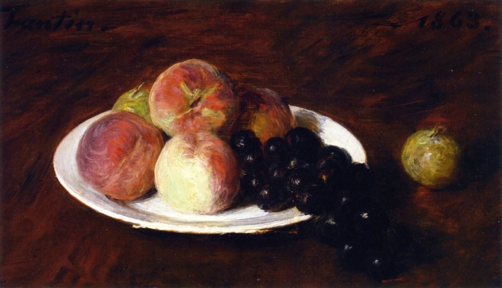 Peaches and Grapes on a White Plate, by Henri Fantin-Latour, 1863